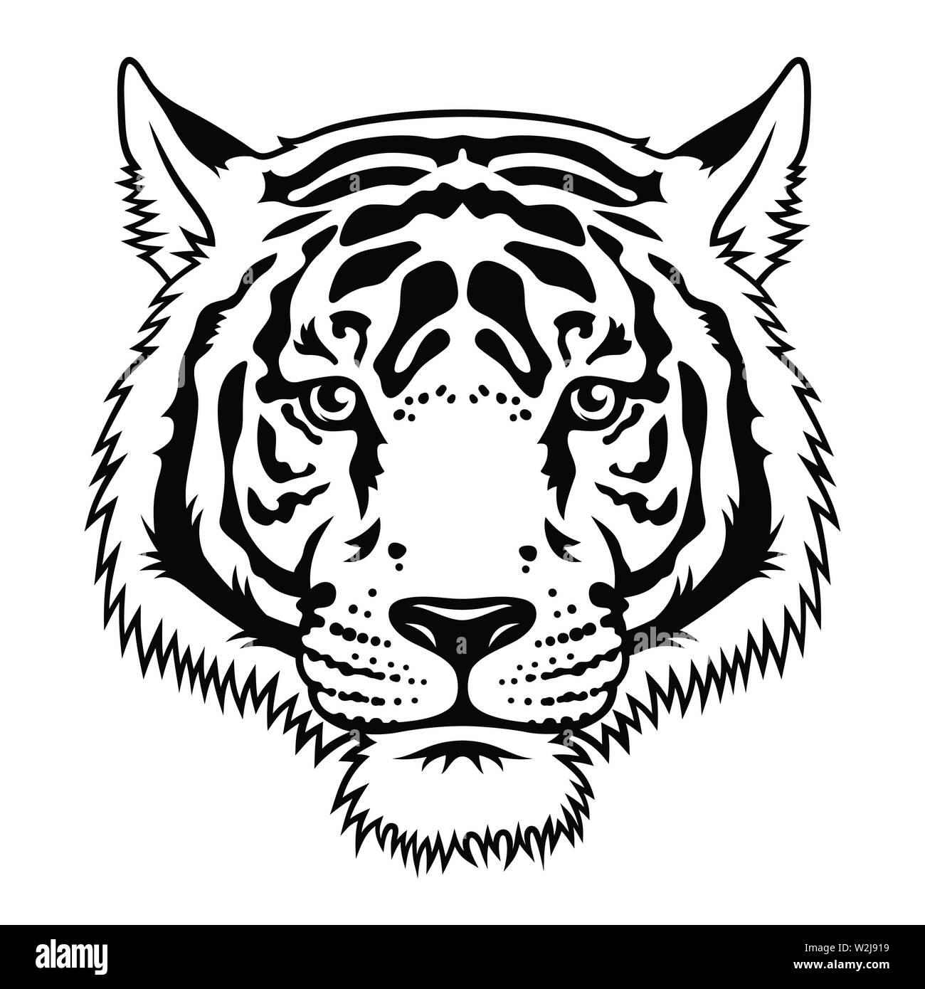 Tiger black white sketch. Vector. T-shirt print design. Tee graphics - Stock Image