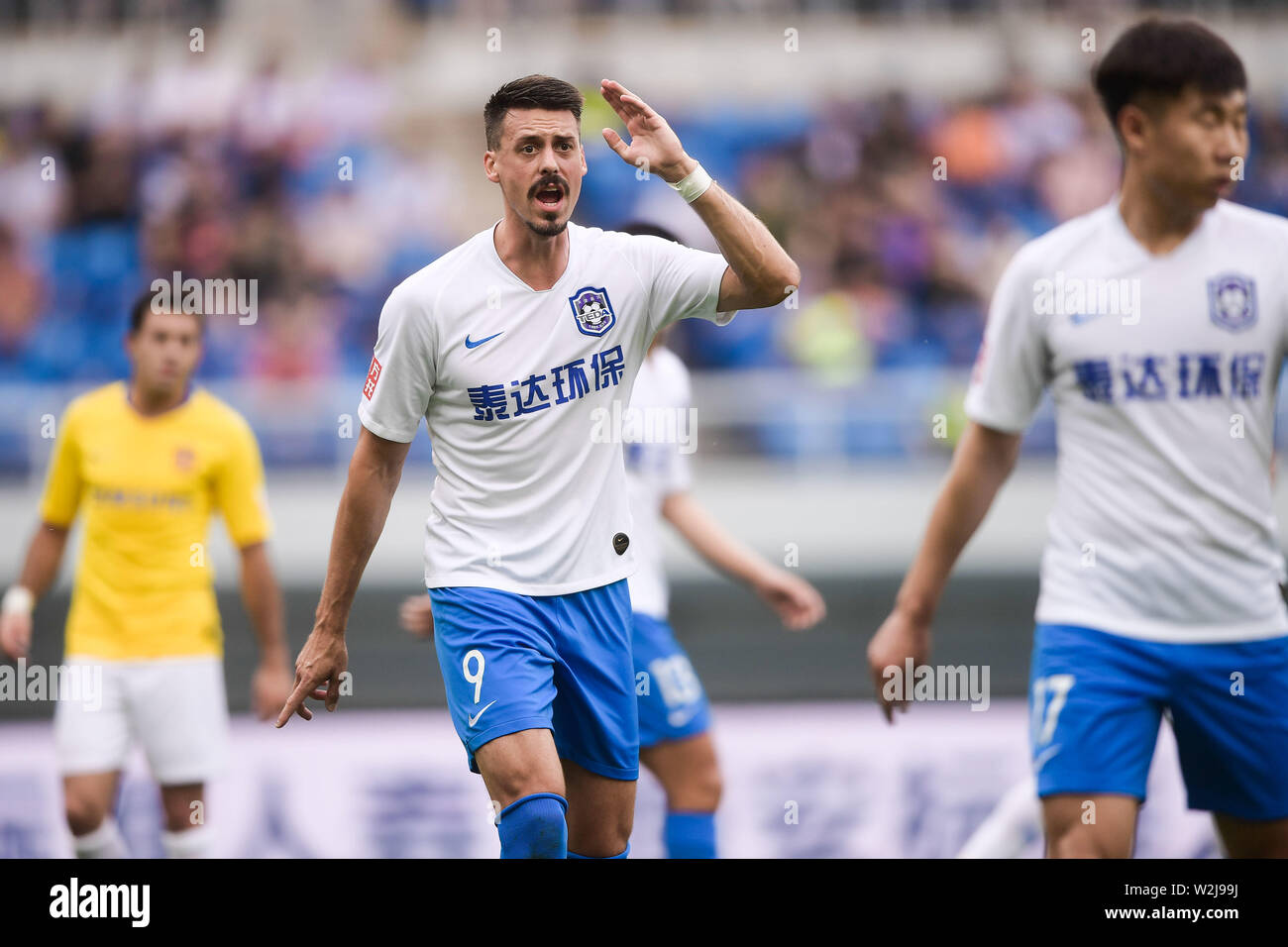 German Football Player Sandro Wagner Of Tianjin Teda Reacts As He