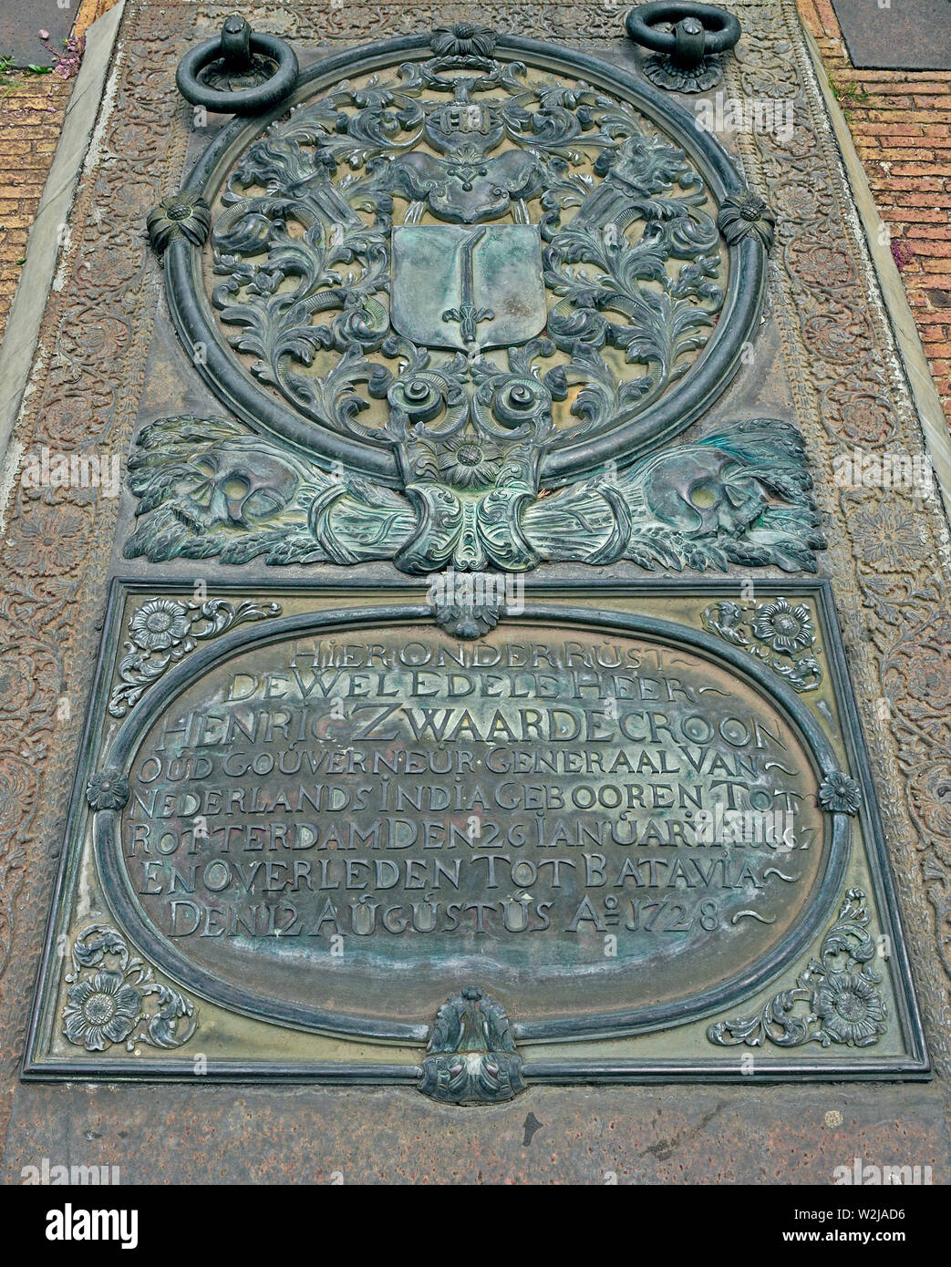 jakarta, dki jakarta/indonesia - september 17, 2007: tomb plate of governor general  henric zwaardecroon who died on august 12, 1728 at sion church on - Stock Image
