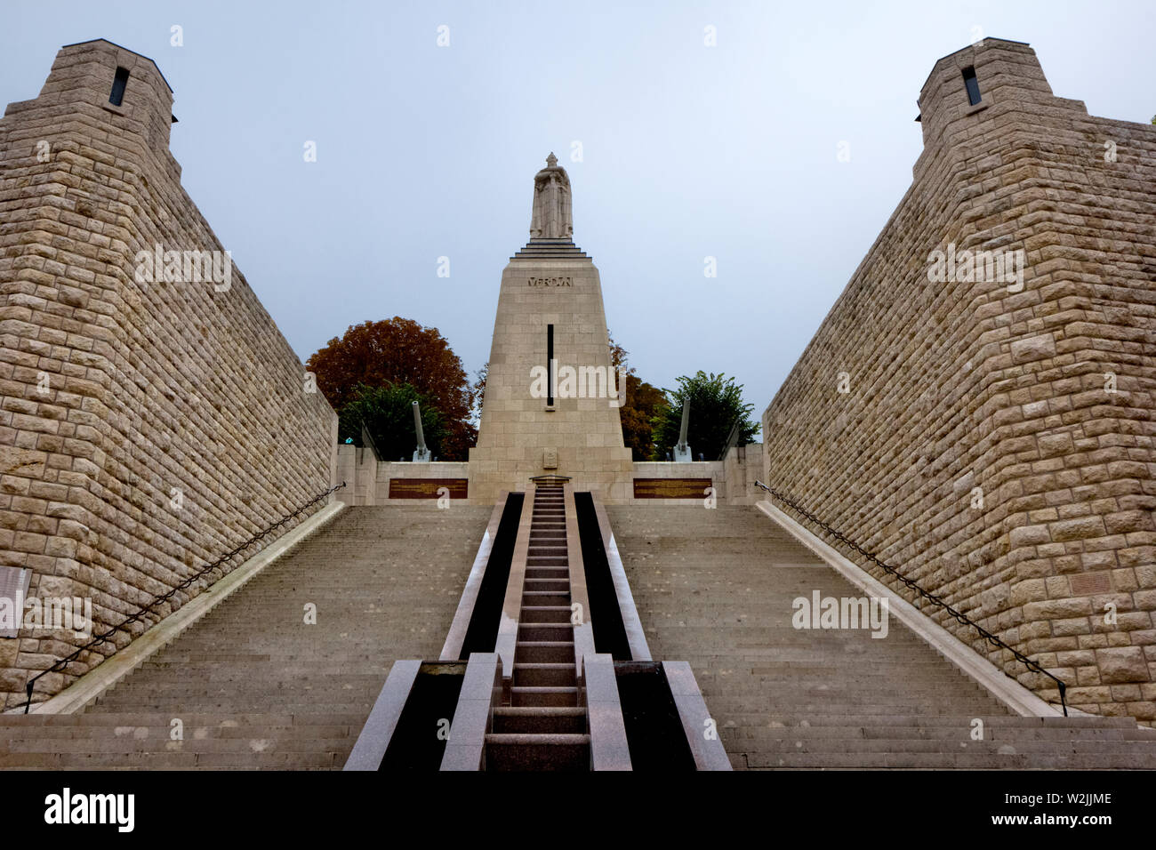 Verdun: Charlemagne at the summit of the 'Monument to the victory at Verdun'. This monument commemorates the French victory of the battle of Verdun. - Stock Image