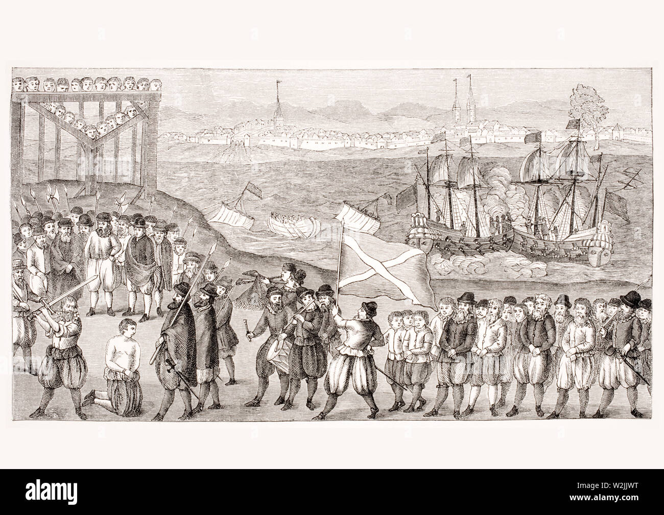 Execution of the celebrated pirate Stoertebeck and his seventy accomplices in 1402 in Hamburg. 19th century reproduction of a popular picture from the 16th century. - Stock Image