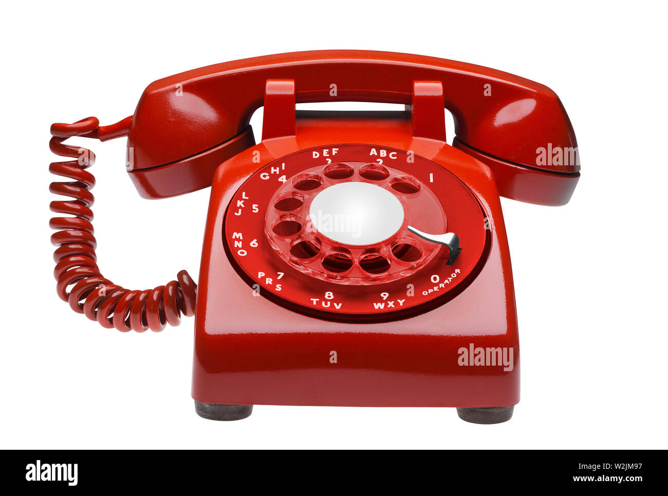 Red telephone on white with clipping path - Stock Image