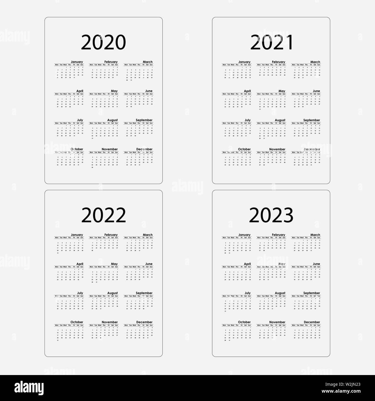Calendar 2020, 2021,2022 and 2023 Calendar template.Calendar