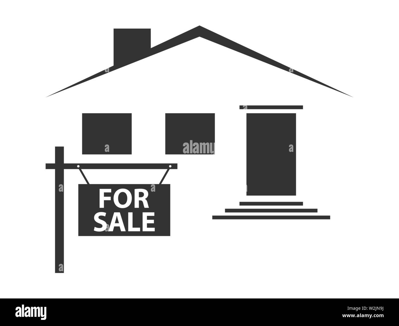 Silhouette of a house with a signboard for sale. Black icon on white background. Vector illustration - Stock Image