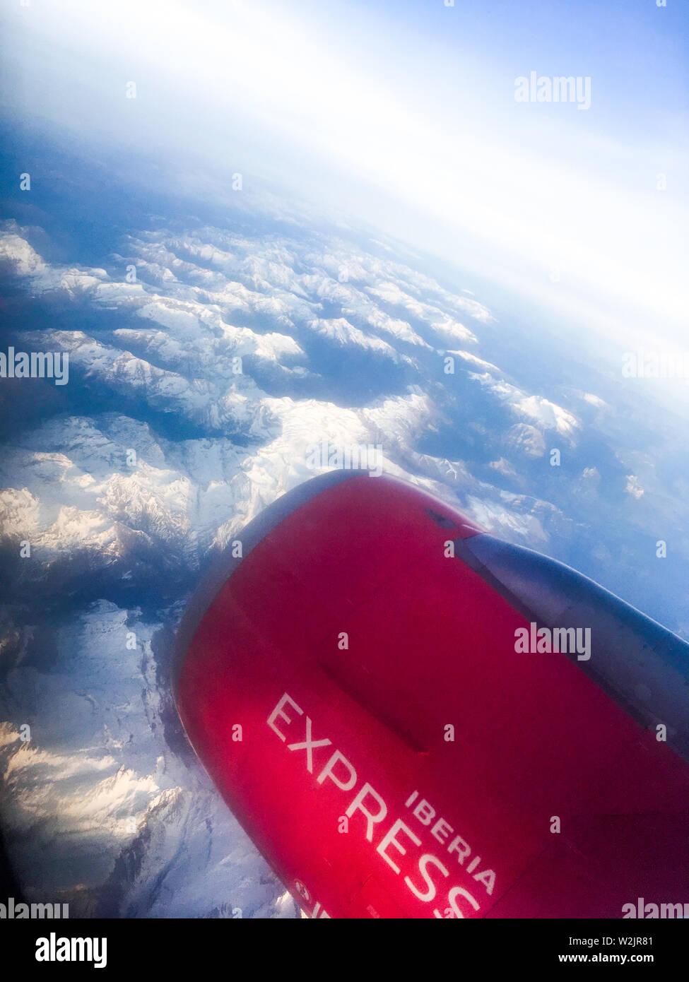 Iberia Express jet engine, sky of Spain - Stock Image