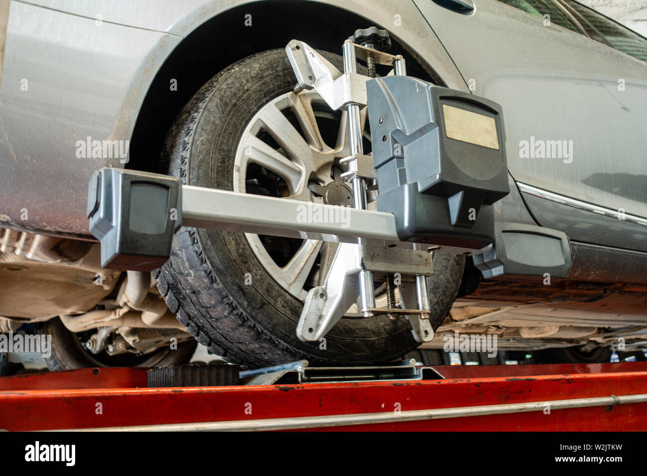 Wheel alignment tool - Stock Image