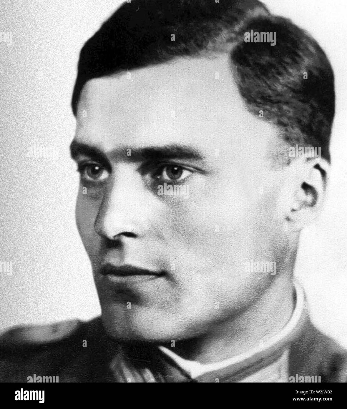 Claus von Stauffenberg, Claus Philipp Maria Schenk Graf von Stauffenberg (1907 – 1944) German army officer. Stauffenberg was one of the leading members of the failed 20 July plot of 1944 to assassinate Adolf Hitler, he was executed by firing squad shortly after the failed attempt known as Operation Valkyrie. - Stock Image