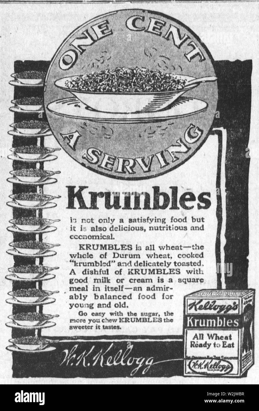 1917 advertisement for Krumbles, Kellogg's breakfast cereal named 'Krumbles' - Stock Image