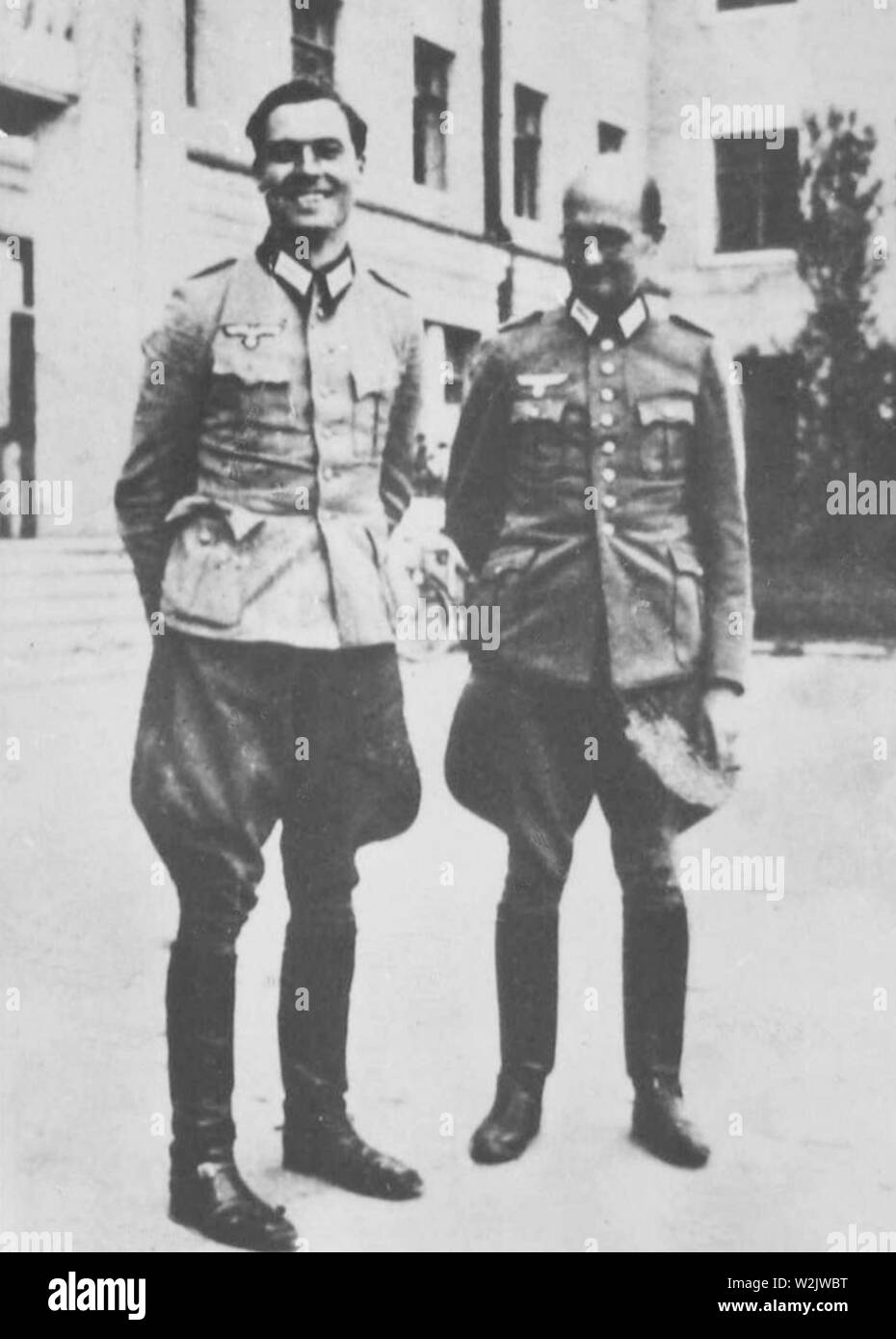 Claus von Stauffenberg and Albrecht Mertz von Quirnheim in 1944, Claus Philipp Maria Schenk Graf von Stauffenberg (1907 – 1944) German army officer. Stauffenberg was one of the leading members of the failed 20 July plot of 1944 to assassinate Adolf Hitler, he was executed by firing squad shortly after the failed attempt known as Operation Valkyrie - Stock Image