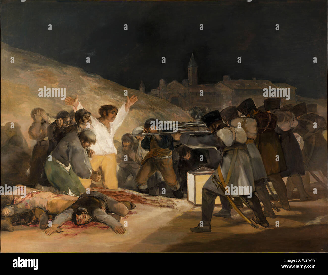 Execution of the Madrid rebels by a French firing squad on the Third of May 1808, as painted by Francisco Goya. - Stock Image
