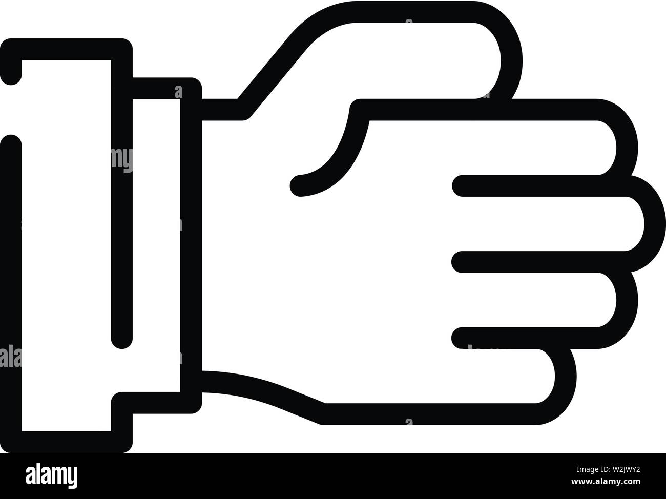 Fat hand icon, outline style - Stock Image