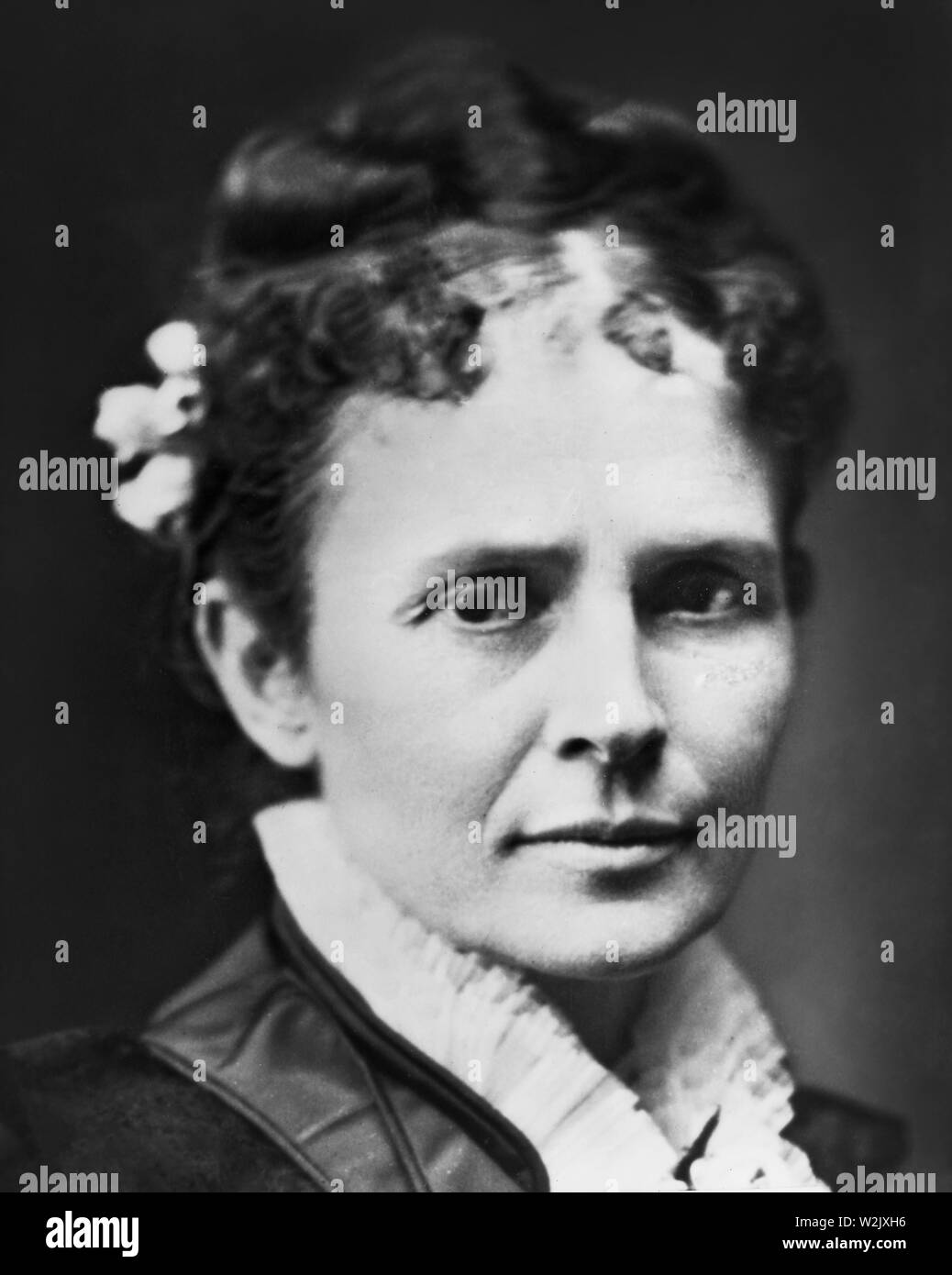 Lucretia Garfield (1832-1918), Wife of James A. Garfield, 20th President of the United States, Head and Shoulders Portrait, Photograph by Mathew B. Brady, 1870's - Stock Image