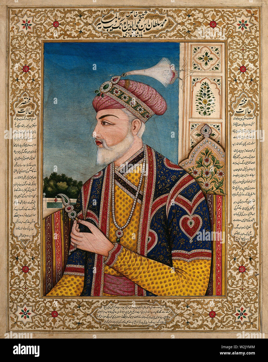 A Mughal emperor or member of a royal family holding a turban ornament in profile. Gouache painting by an Indian painter. Stock Photo
