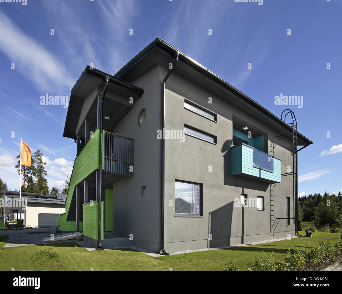 House 10 at exhibition Asuntomessut 2012 in Tampere. Finland - Stock Image