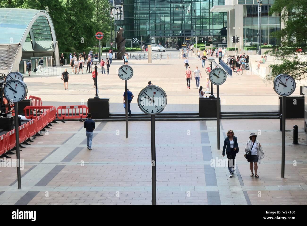 London UK, July 2019: Reuters Plaza, Canary Wharf, 10am Saturday morning. Stock Photo