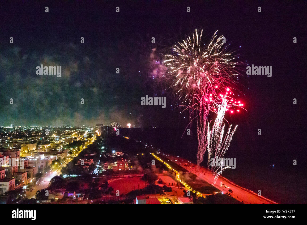 Miami Beach Florida North Beach Fire on the Fourth Festival July 4th annual event fireworks display burst Stock Photo