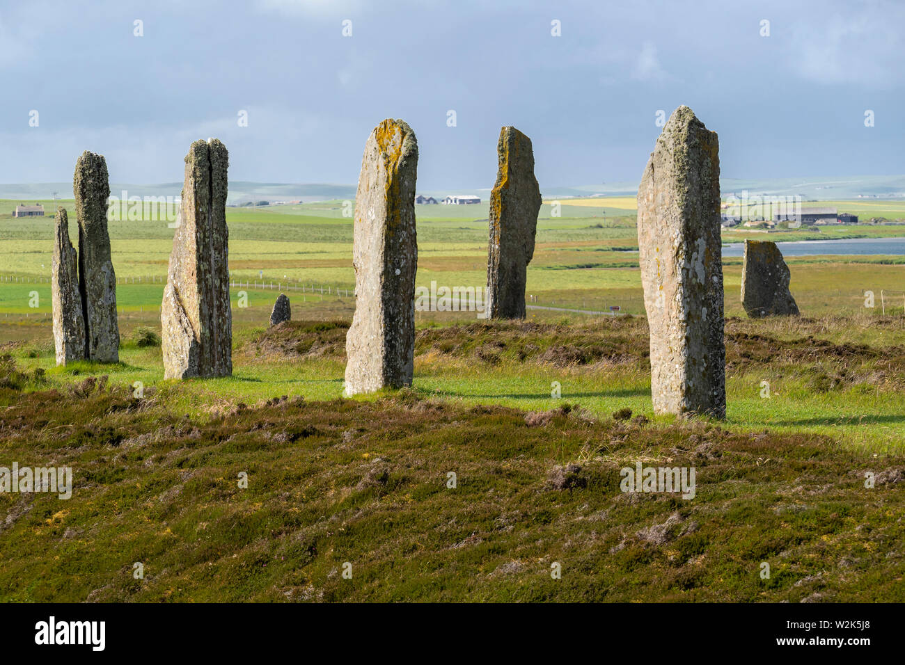 The Ring of Brodgar is a Neolithic henge and stone circle about 6 miles north-east of Stromness on the Mainland, the largest island in Orkney, Scotlan Stock Photo