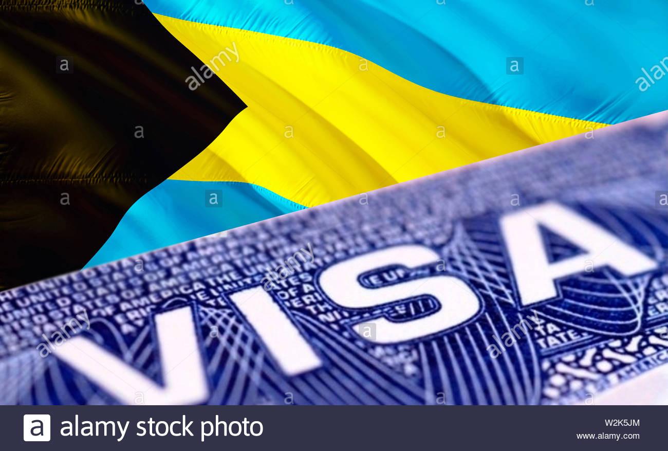 text visa on bahamas visa stamp in passport, 3d rendering
