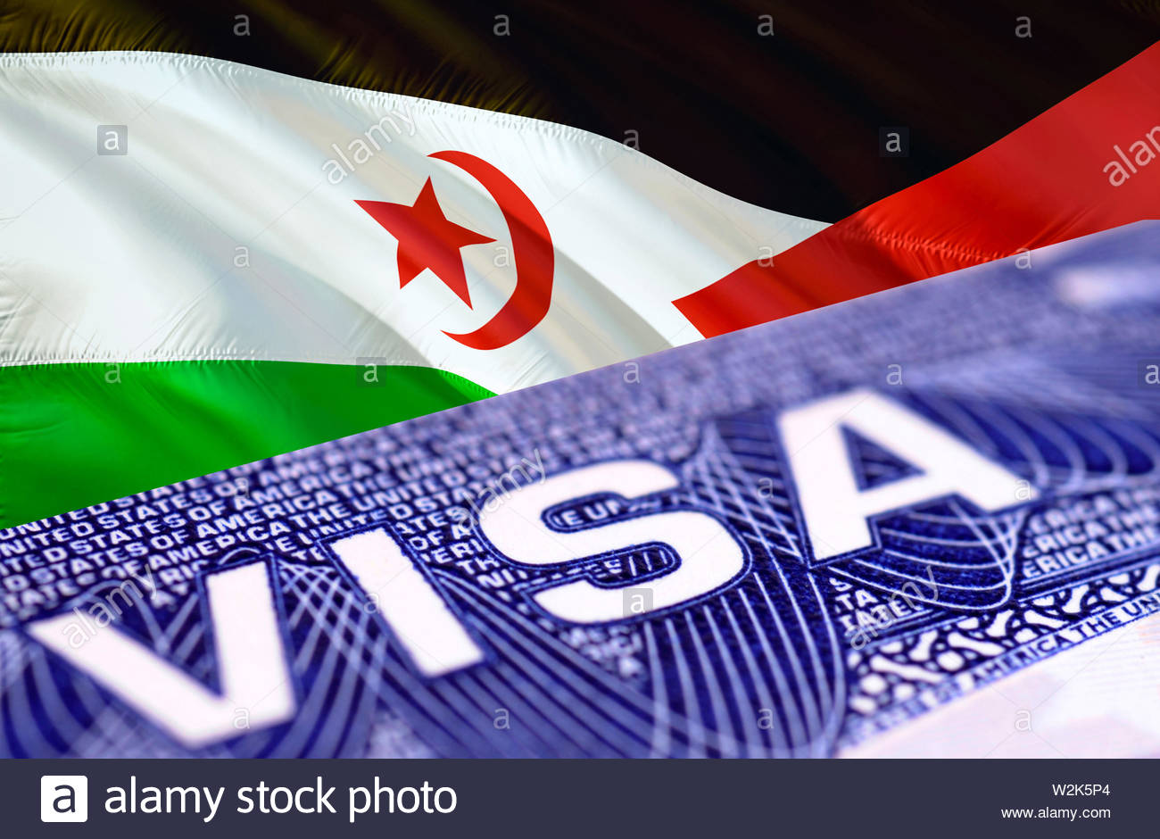Western Sahara Visa Document, with Western Sahara flag in background, 3D rendering. Western Sahara flag with Close up text VISA on USA visa stamp in p - Stock Image