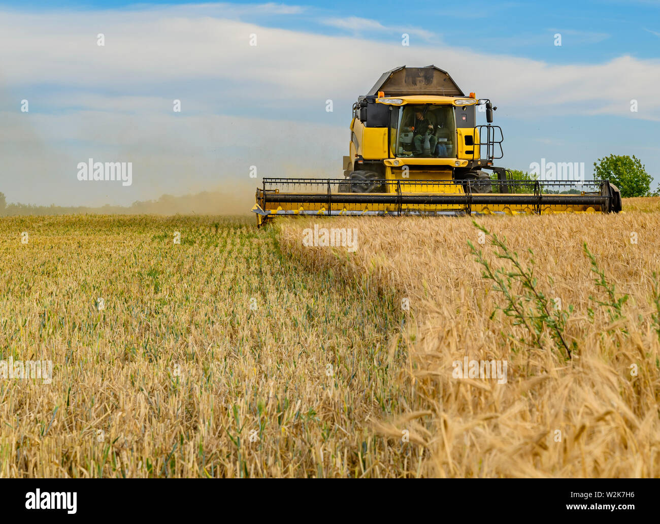 Berlin, Germany - July 05, 2019: Front view of a moving combine harvester on a field near Berlin under a cloudy sky. Stock Photo