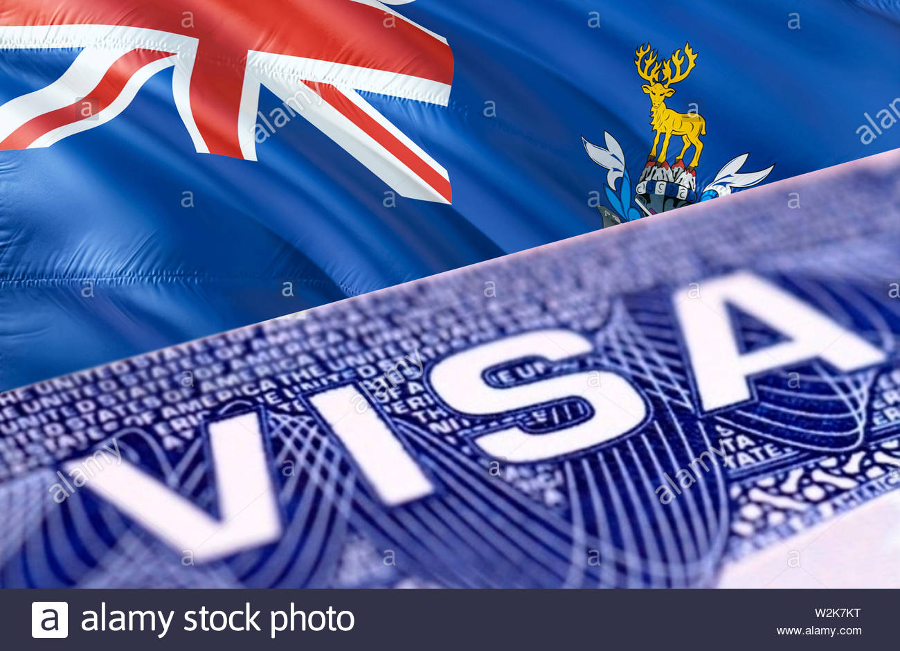 South Georgia and the South Sandwich Islands visa document close up, 3D rendering. Passport visa on South Georgia and the South Sandwich Islands flag. - Stock Image