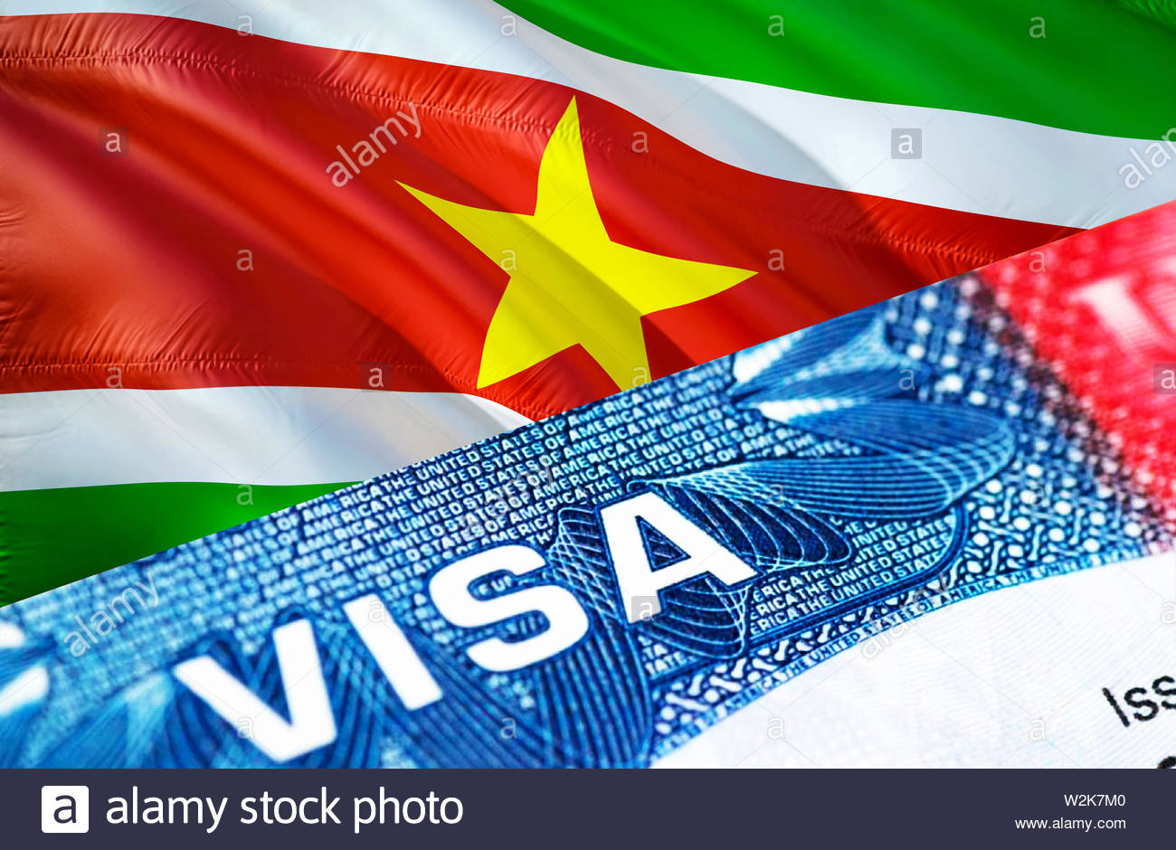 text VISA on Suriname visa stamp in passport, 3D rendering. passport traveling abroad concept. Travel to Suriname concept - selective focus. Immigrati - Stock Image