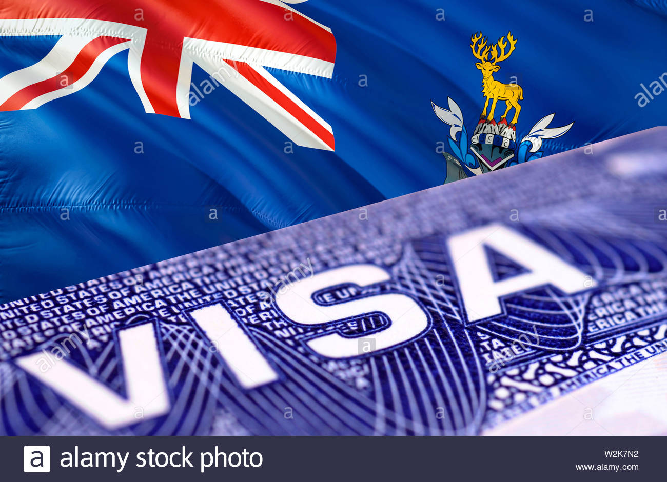 South Sandwich Islands Visa in the passport, 3D rendering. Closeup Visa to The South Georgia and the South Sandwich Islands focusing on the word VISA. - Stock Image