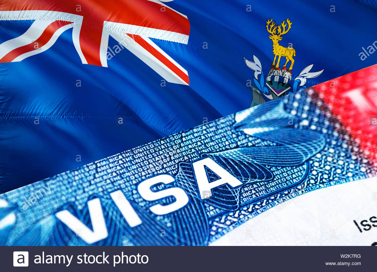 text VISA on South Georgia and the South Sandwich Islands visa stamp in passport, 3D rendering. passport traveling abroad concept. Travel to South Geo - Stock Image
