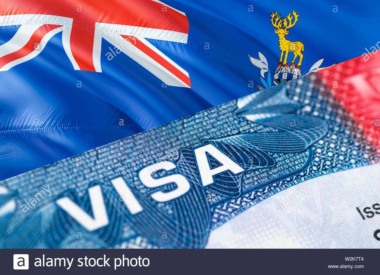 South Georgia Islands Visa Document, with South Georgia and the South Sandwich Islands flag in background, 3D rendering. South Georgia and the South S - Stock Image