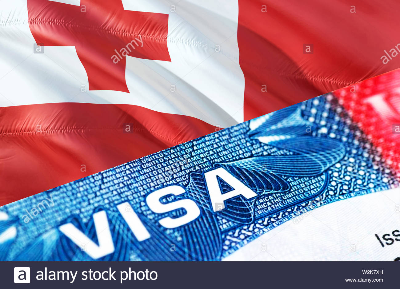 Tonga Visa Document, with Tonga flag in background, 3D