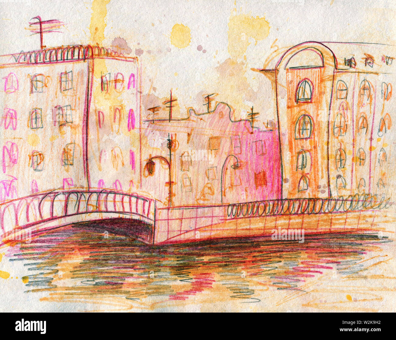 Watercolor cityscape. Quick sketch. Line Art. Colour pencils. Saint-Petersburg, Russia. Griboyedov Canal. The concept of autumn and spring. For an alb Stock Photo