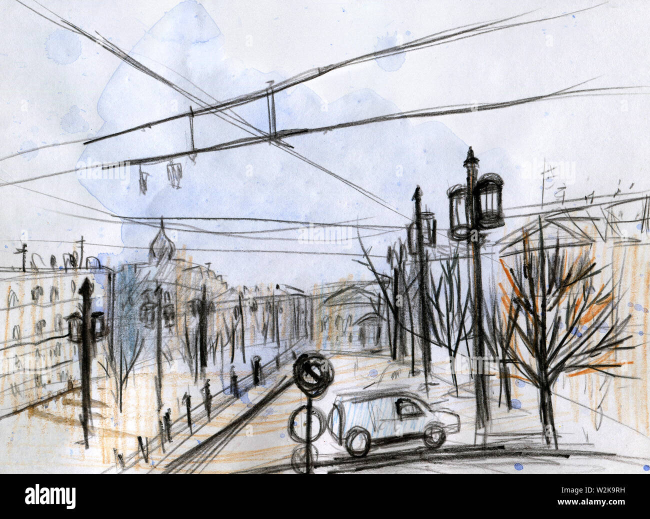 Watercolor cityscape. Quick sketch. Line Art. Black pencil. Saint Petersburg, Russia. Rain on the square. The concept of autumn and spring. For an alb Stock Photo