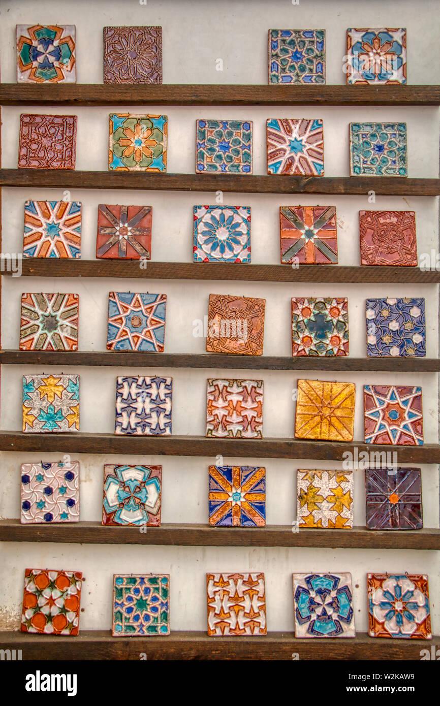 Exhibition of Arabic style tiles Stock Photo
