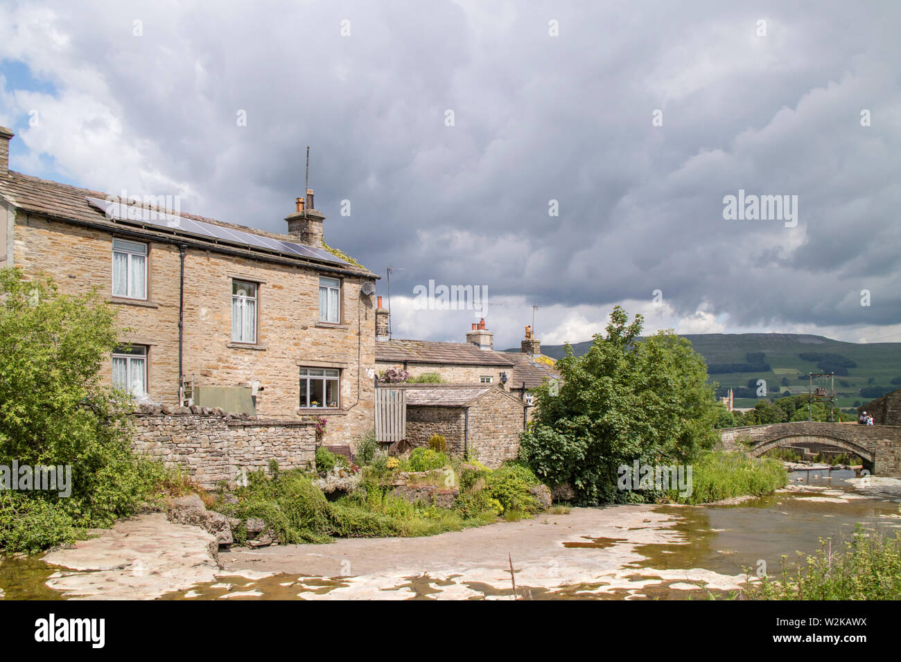 The attractive village of Gale Wensleydale, Yorkshire Dales National Park, North Yorkshire, England Stock Photo