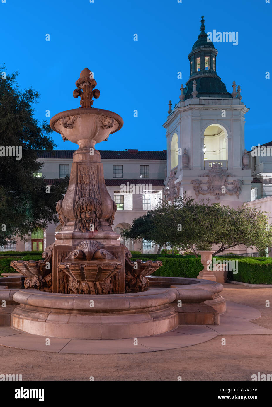 Pasadena City Hall courtyard showing the fountain and one of the smaller towes.. Stock Photo