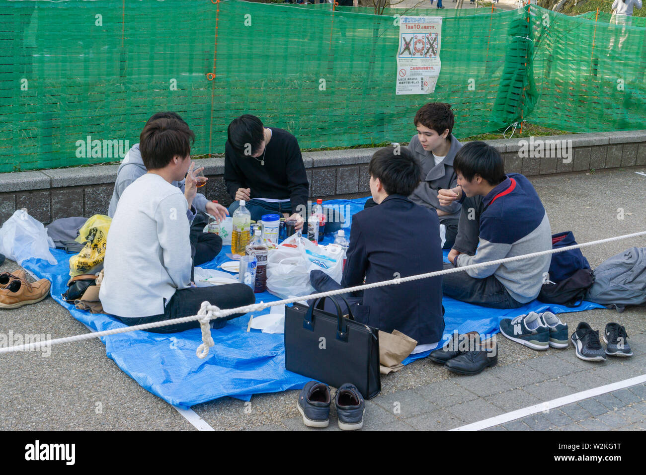 There are groups of people having picnics all over Ueno Park. There are special areas reserved for 'picnickers'. It is a popular activity at Ueno Park. - Stock Image