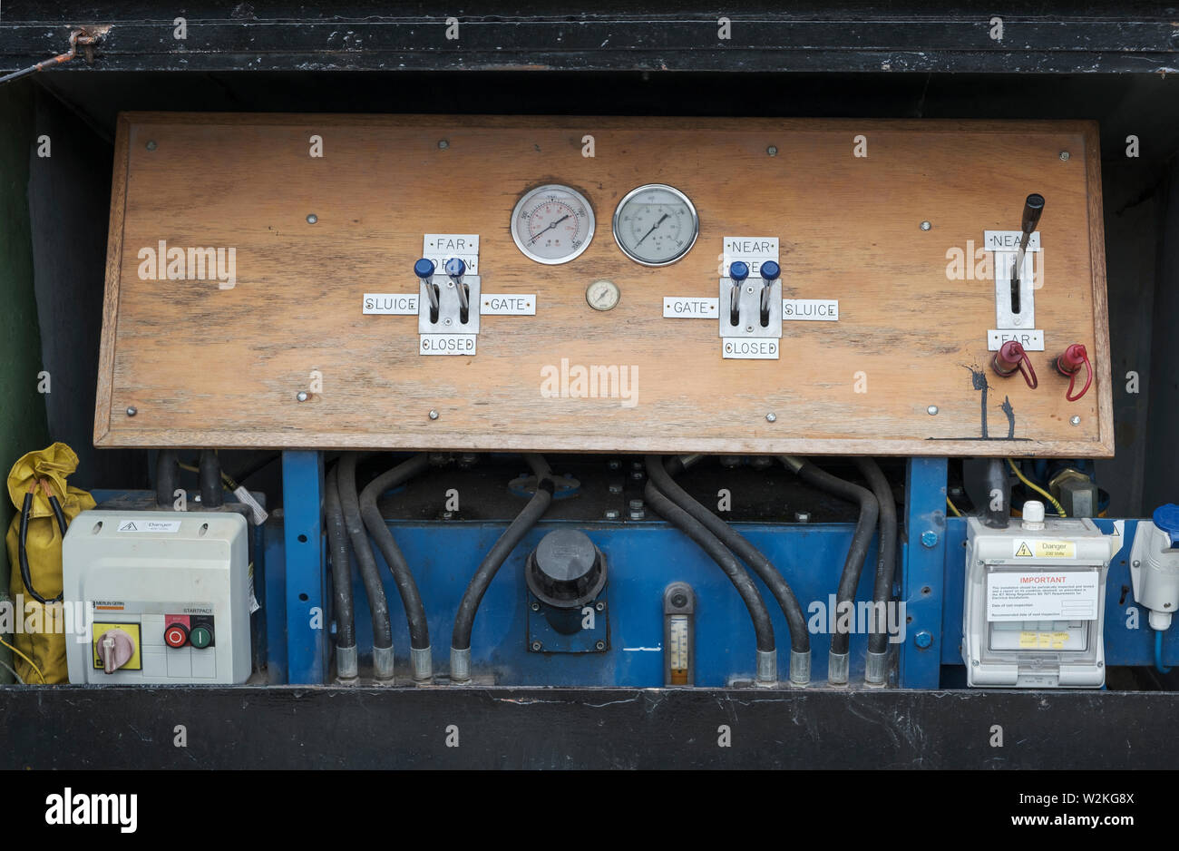 Lock gate control panel - 'Lady Rose' passing through Muirtown Locks, Caledonian Canal, Inverness - Stock Image