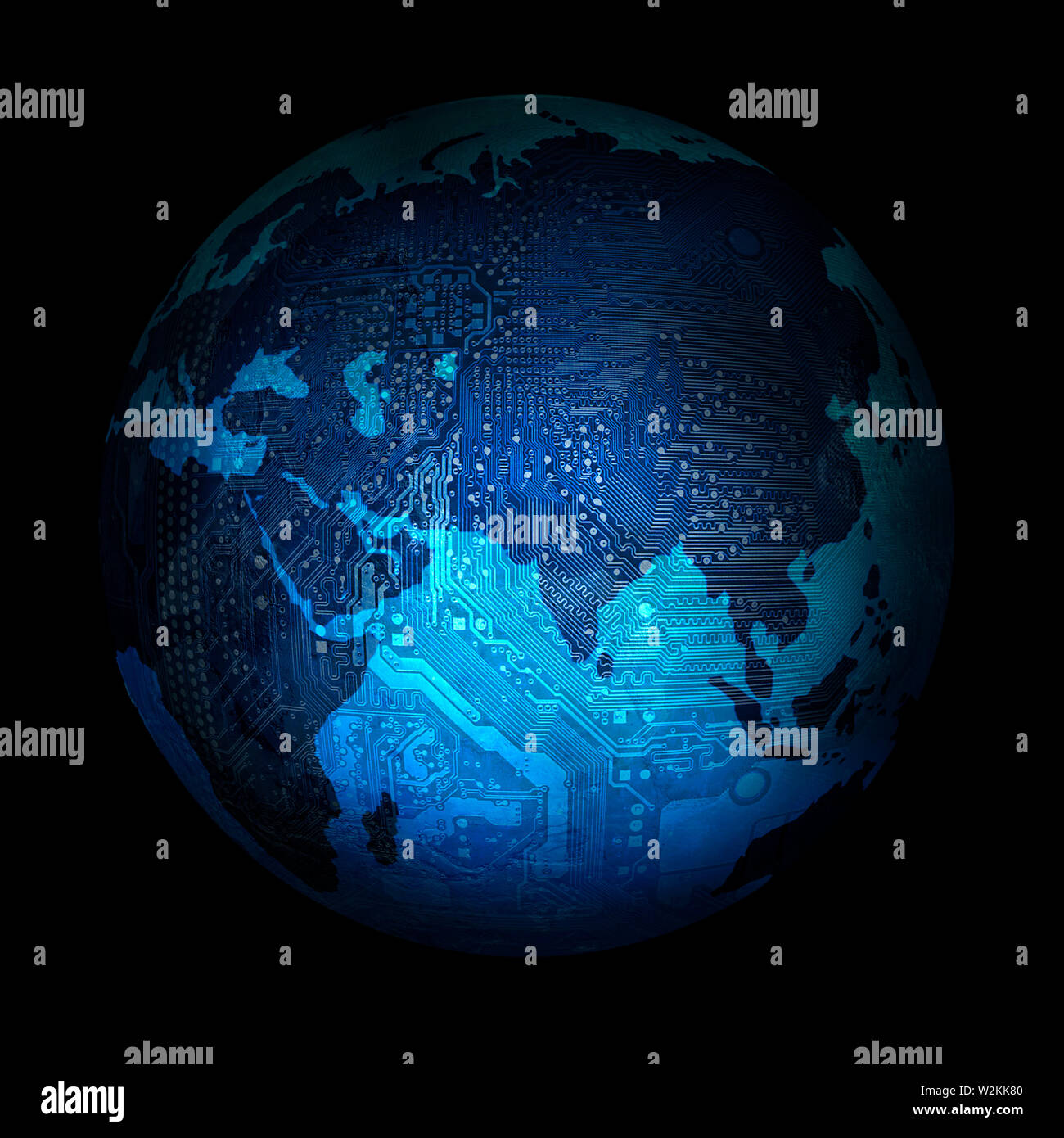 electronic digital planet earth on a black background - Stock Image