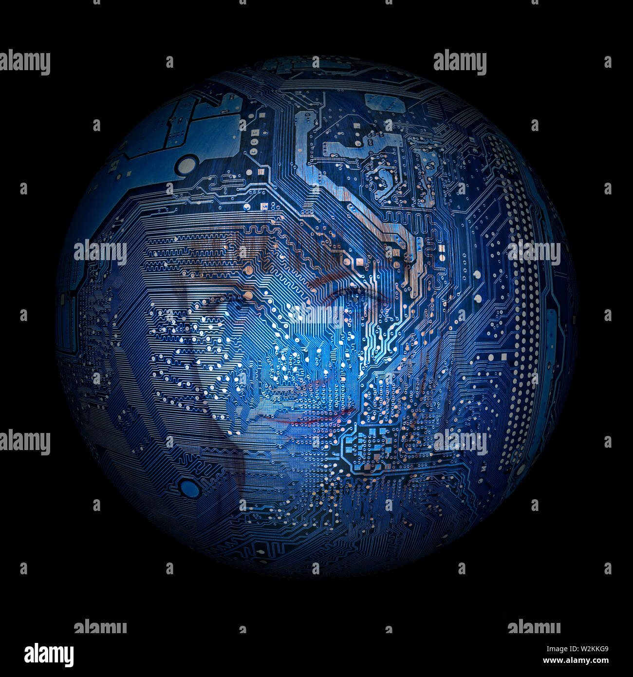 woman's face on the background of electronic digital planet - Stock Image