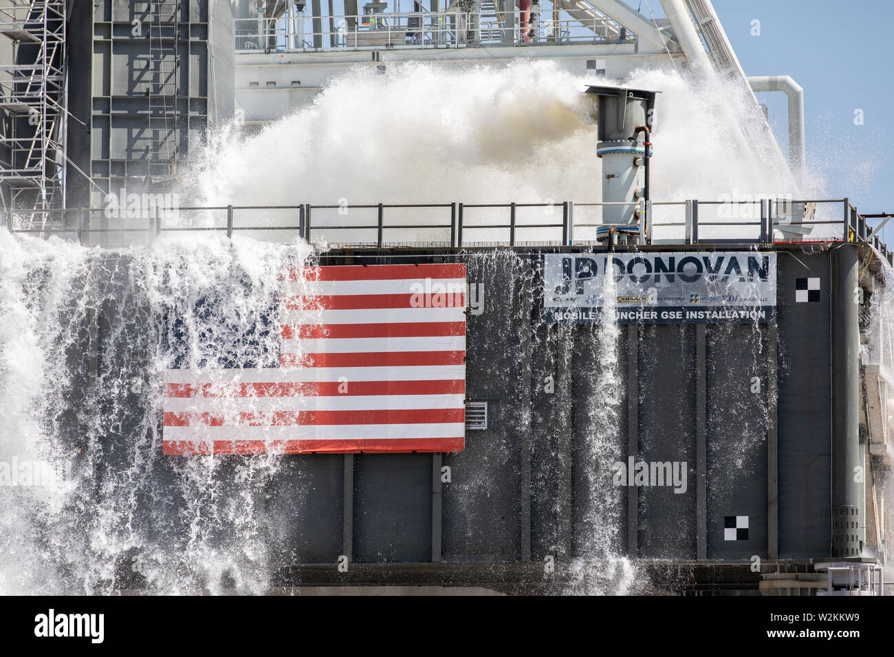 The NASA Orion Exploration Ground Systems conducts a water