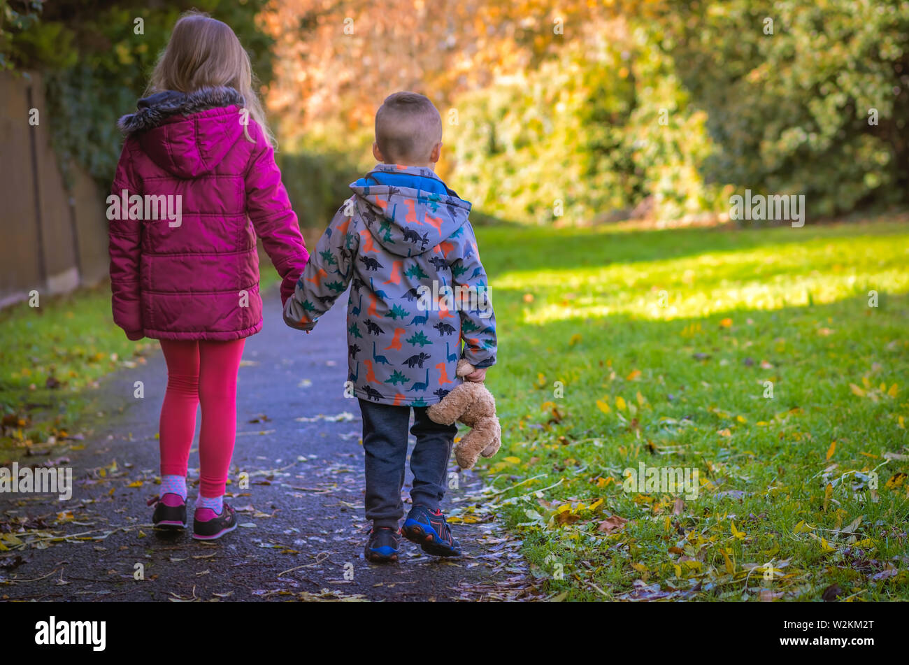 Boy holding hs favourite teddy bear soft toy holding hands with his sister and walking together on a path in the countryside in autumn Stock Photo