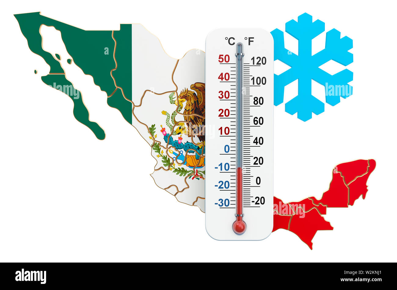 Extreme cold in Mexico concept. 3D rendering isolated on white background - Stock Image