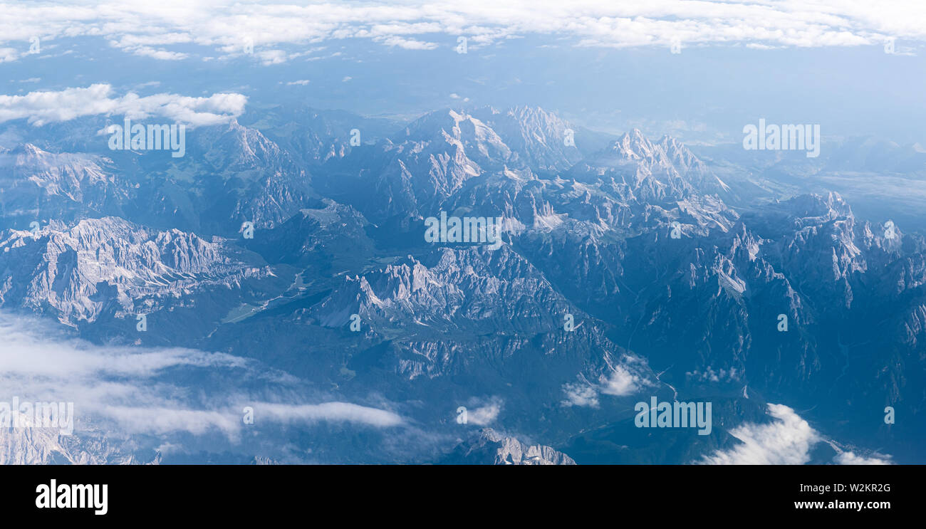 Alps mountains, panoramic landscape from sky, Europe Stock Photo