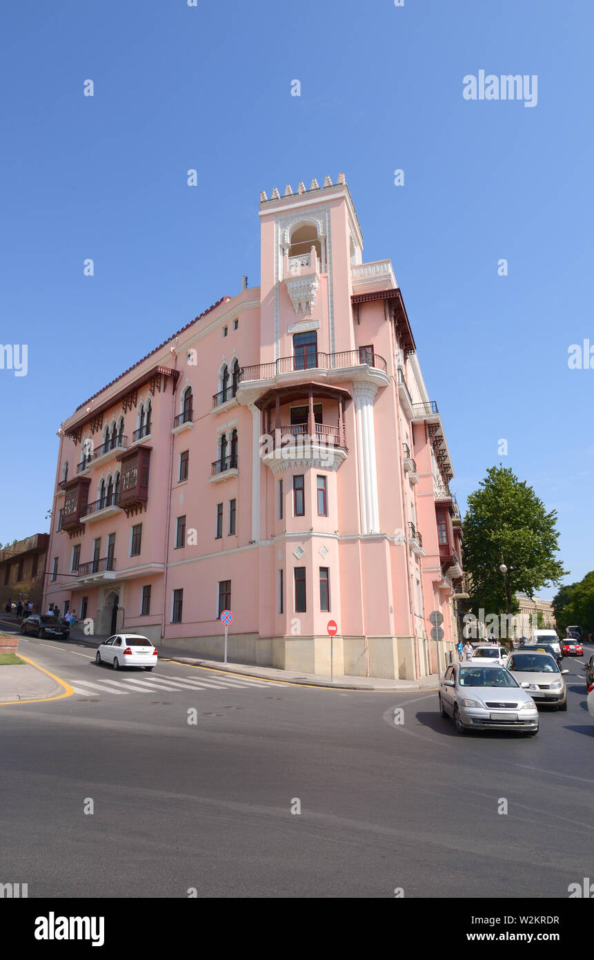 30-06-2019.Baku.Azerbaijan.Old pink building on Niyazi street in Baku - Stock Image