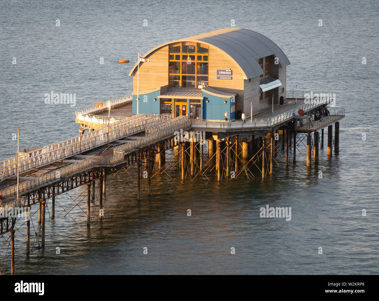 RNLI lifeboat house on Mumbles pier - Stock Image