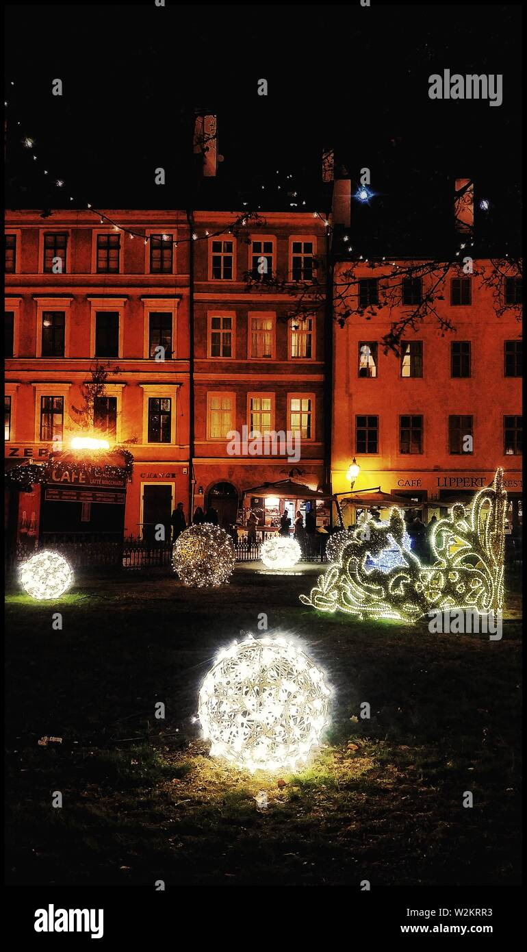A Christmas night in prague - Stock Image