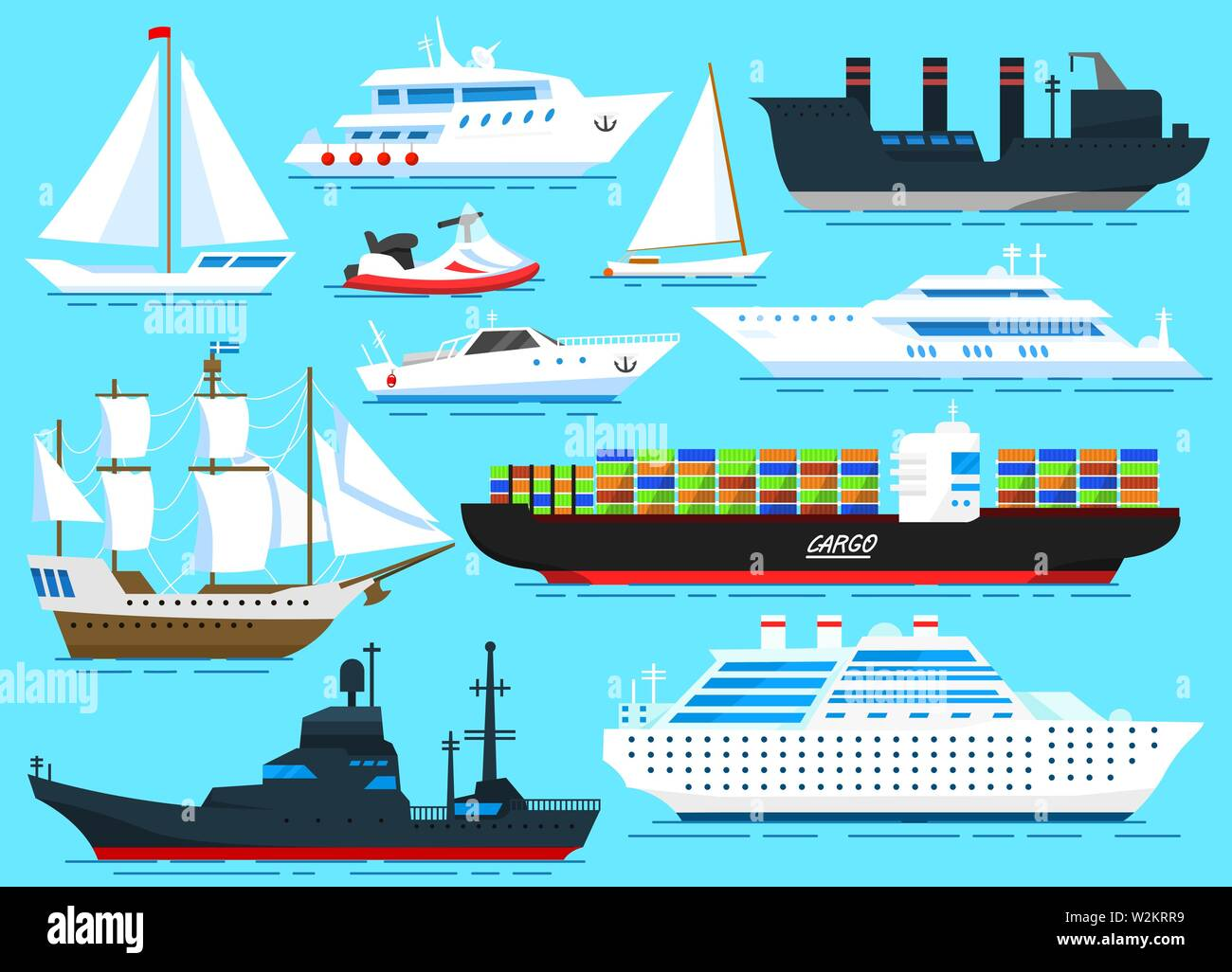 Set of sailboats, Sea ships and cargo boats sailing on blue water. Transport sailors for world travel. Vector illustration in cartoon style for Summer - Stock Vector