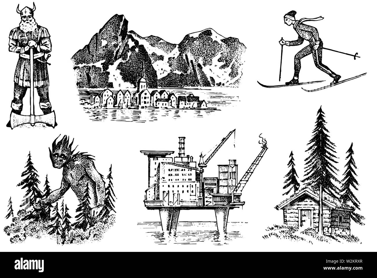 Norway culture. Set of national symbols. Viking and mountains, skier and architecture, oil production and a house in the woods, and fabulous goblin Stock Vector
