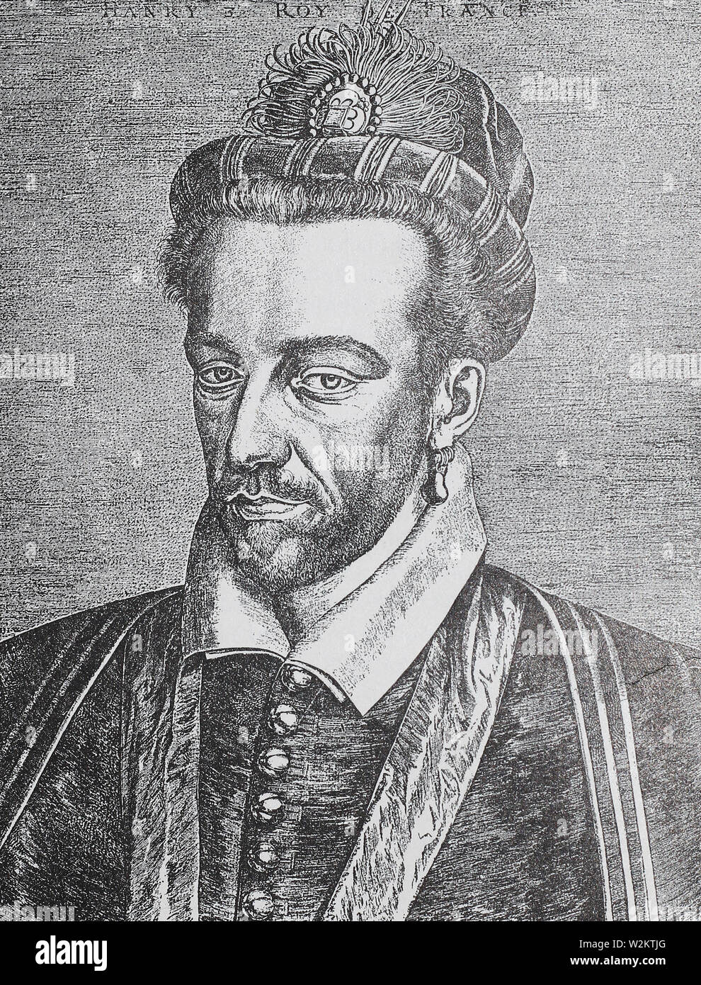 Henry III, King of France. Medieval engraving. - Stock Image