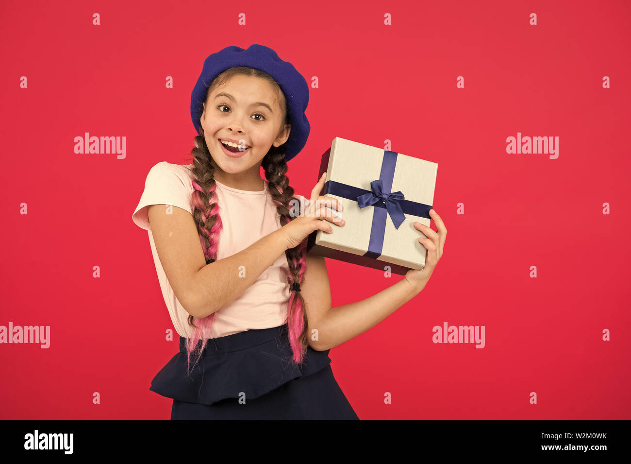 1d3bbdc11f45 Best christmas gifts. Child excited about unpacking her gift. Kid ...
